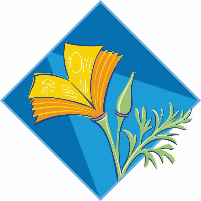 California Poppy Flower over a blue square turned on end (UC MG Logo)