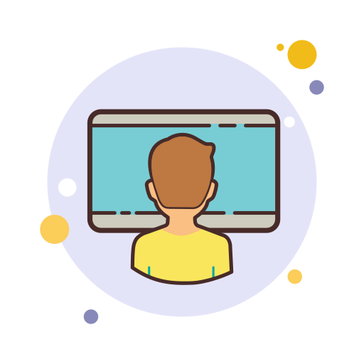 Icon of person sitting in front of computer screen