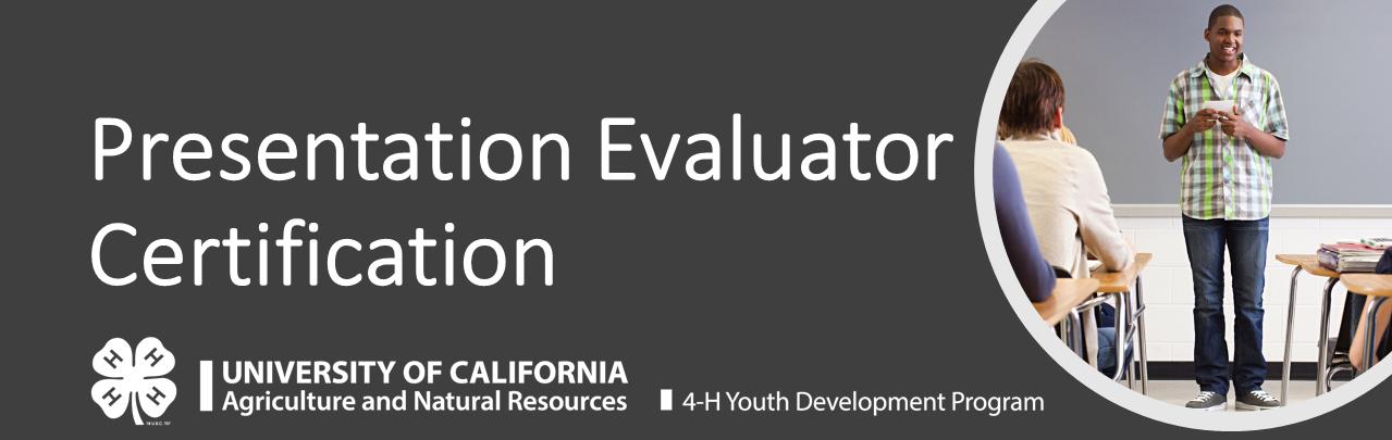 University of California Presentation Evaluator Certification Course Logo