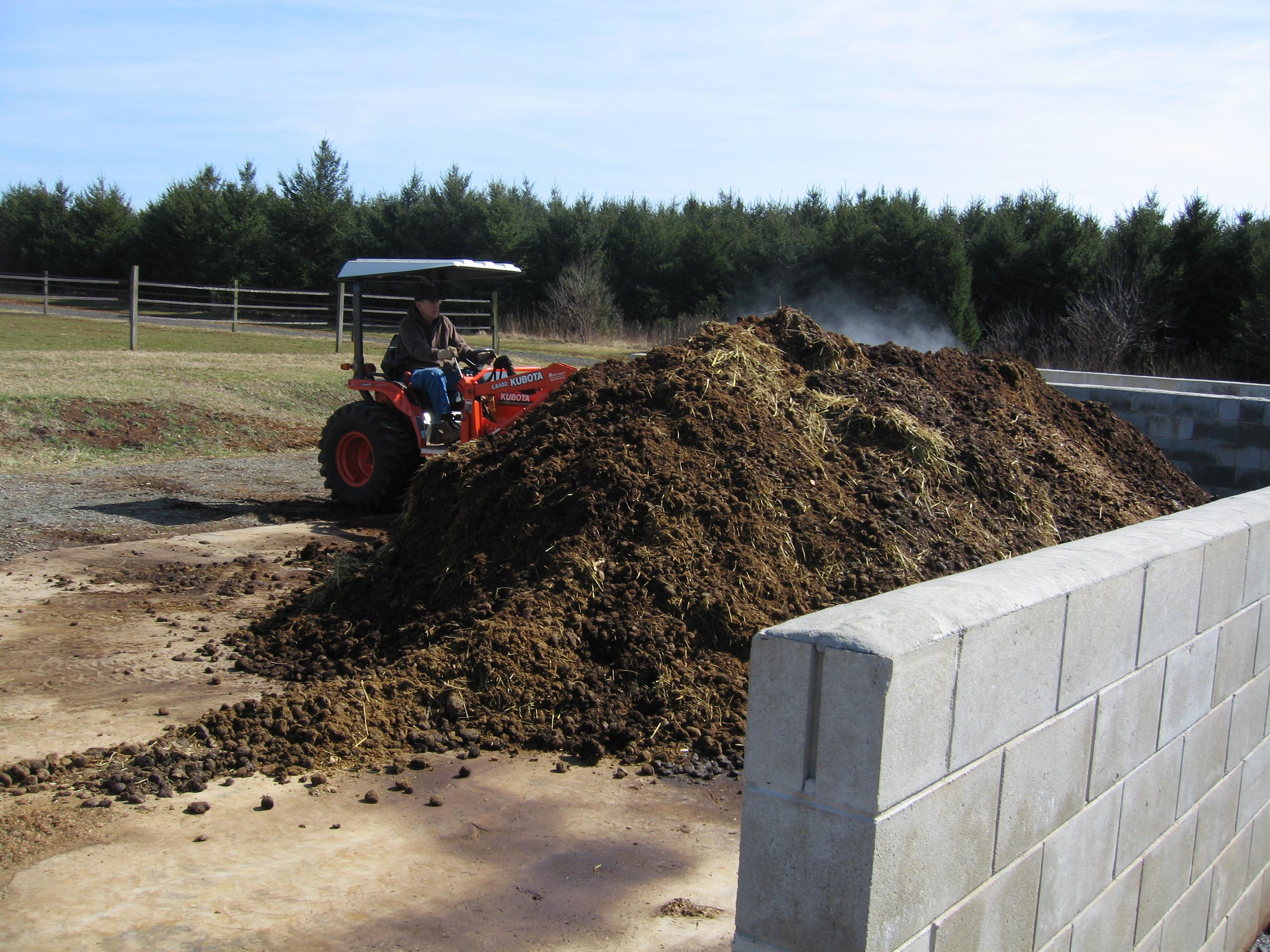 Compost pile on a farm
