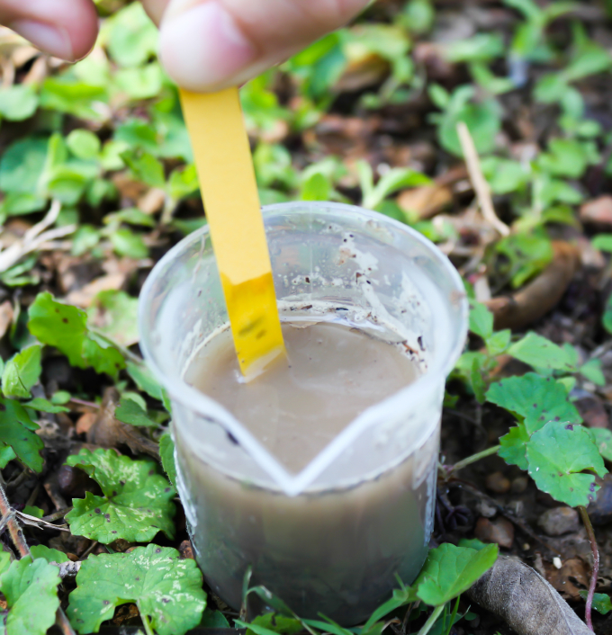 Testing liquid from maturing compost to determine pH is usually not necessary